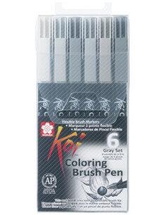 KOI Coloring Brush Pen Set 6 Grey