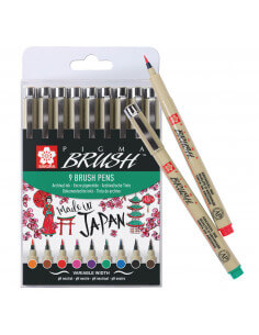 Pigma Brush Pen Set 9 pieces