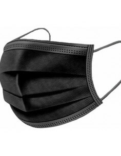 Masque facial jetable noir type IIR (50 pièces)