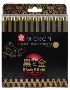Pigma Micron 10+2 Fineliners black gold edition